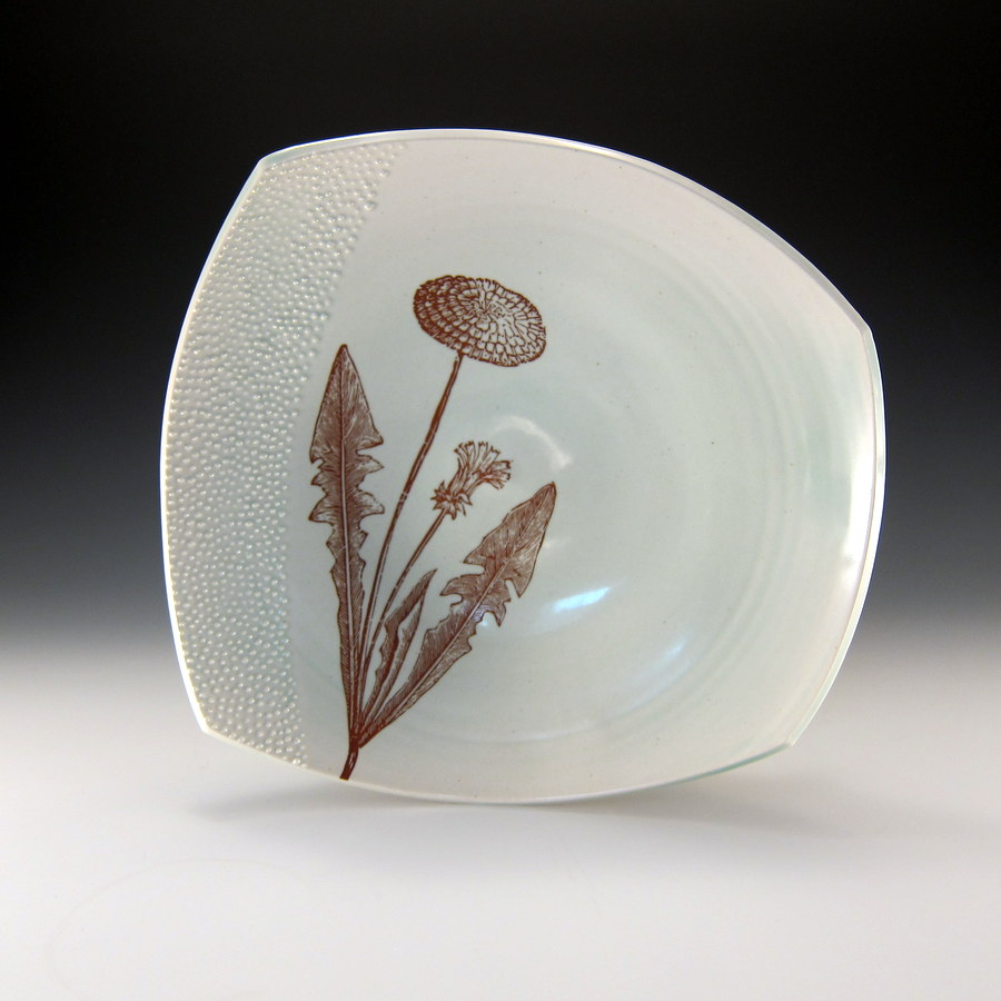 Emily Murphy Porcelain Pottery_square_platter_with_dandelion